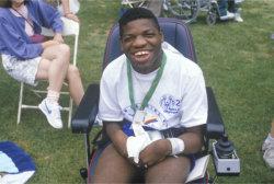 The man in a wheelchair